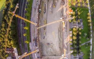 Luftaufnahme Baudokumentation, Sanierungsarbeiten und Abbrucharbeiten