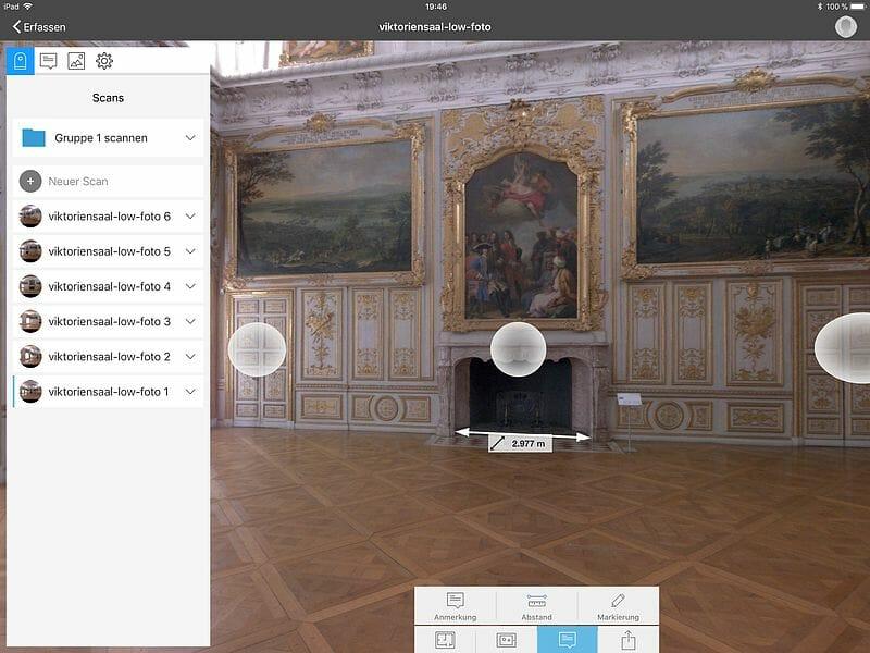 Autodesk Recap Pro Mobile , Vermessung im Bild des BLK360